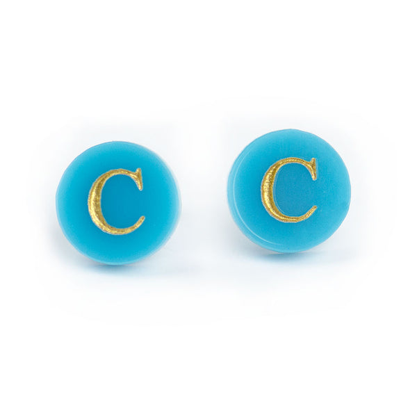 "I found this at #moonandlola! - Dalton Studs ""C"" in Turquoise"