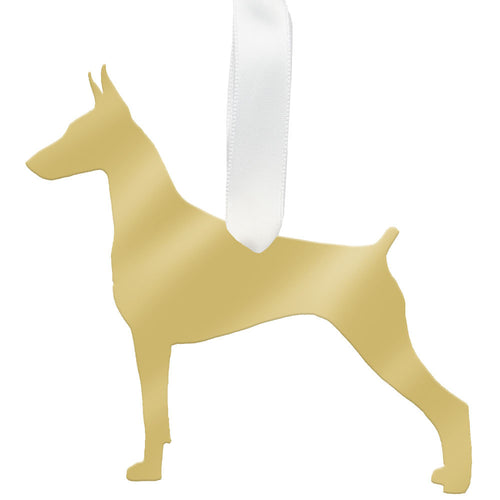 I found this at #moonandlola! - Doberman Pinscher Ornament Mirrored Gold