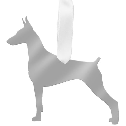 I found this at #moonandlola! - Doberman Pinscher Ornament Mirrored Silver