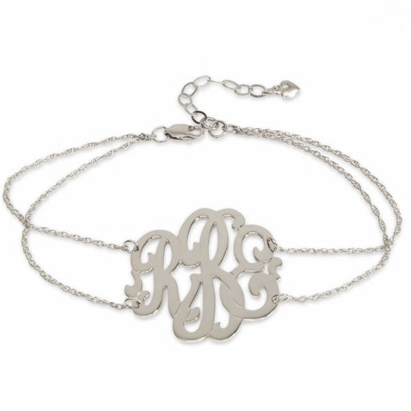 Sterling Silver Monogram Double Chain Bracelet Script Font - #moonandlola