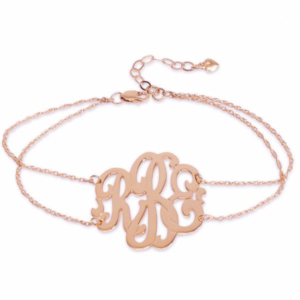 Rose Gold Monogram Double Chain Bracelet Script Font - #moonandlola