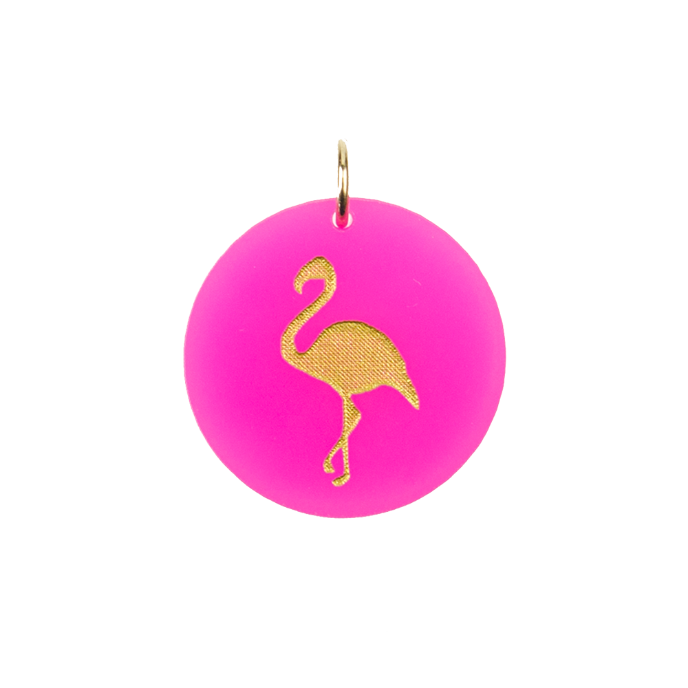 Moon and Lola - Acrylic Eden Charm flamingo charm on hot pink acrylic