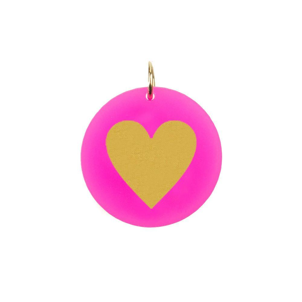 Moon and Lola - Acrylic Eden Charm heart silhouette on hot pink acrylic