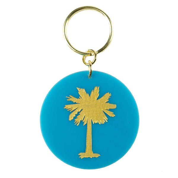 I found this at #moonandlola! - Eden Key Chain Turquoise Palm Tree