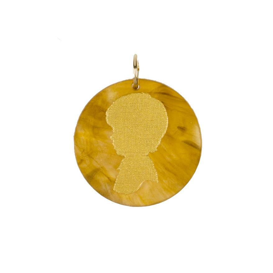 Moon and Lola - Acrylic Eden Charm young boy silhouette on tiger's eye acrylic