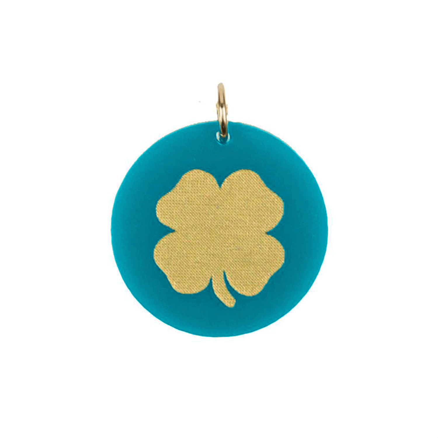 Moon and Lola - Acrylic Eden Charm lucky clover charm on turquoise acrylic