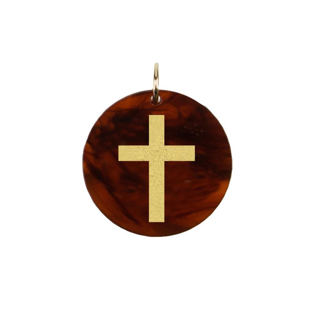 Moon and Lola - Acrylic Eden Charm cross charm on tortoise shell acrylic