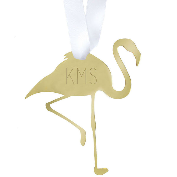 Moon and Lola - Flamingo Ornament with Monogram