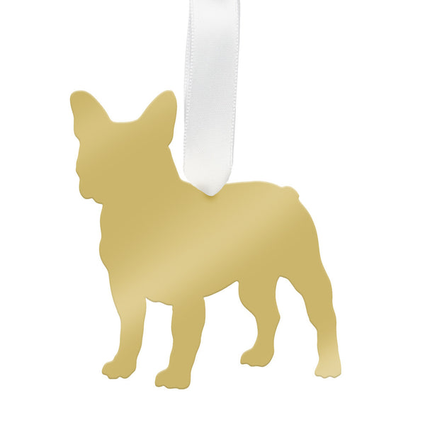 Moon and Lola - French Bulldog Ornament Mirrored Gold