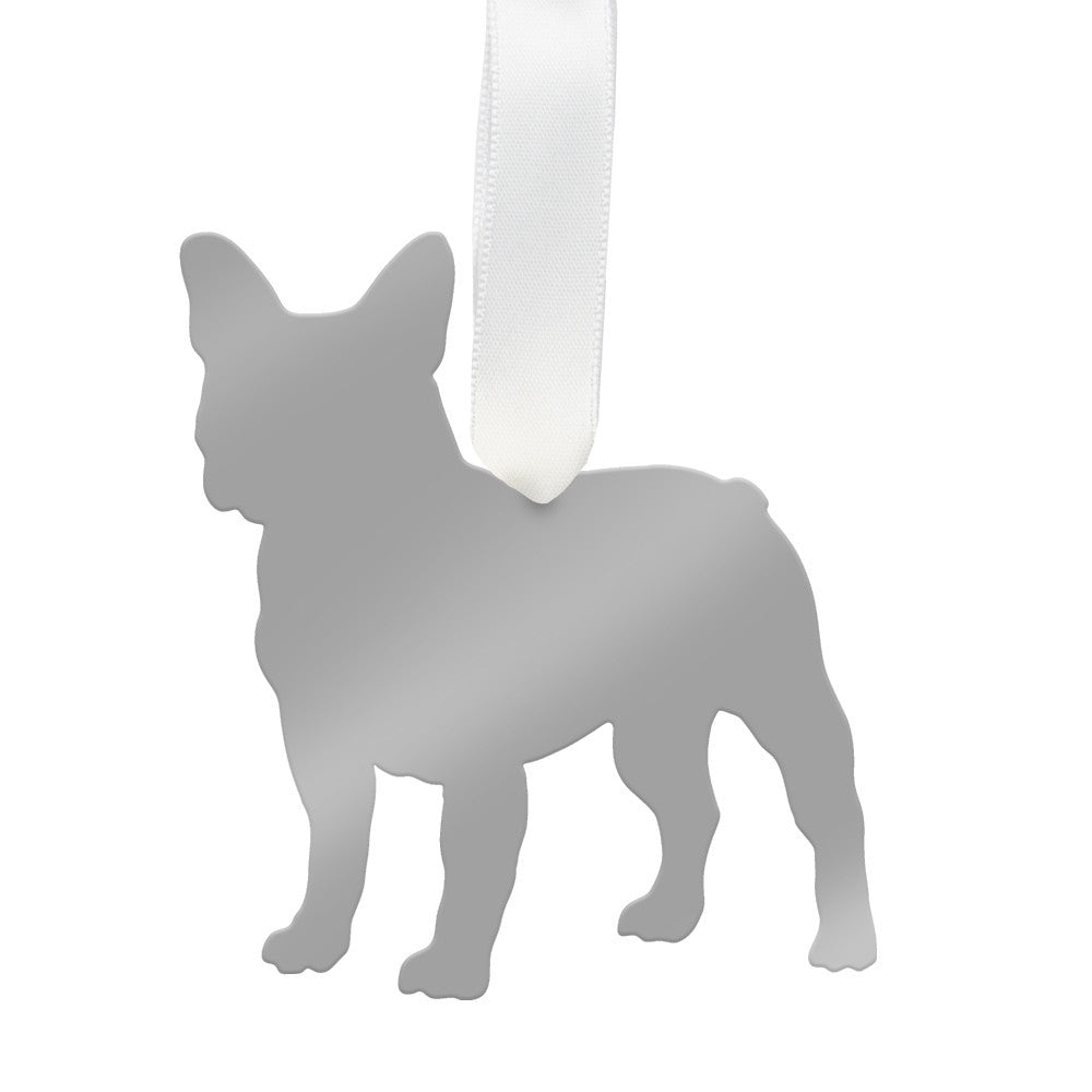 I found this at #moonandlola! - French Bulldog Ornament Mirrored Silver