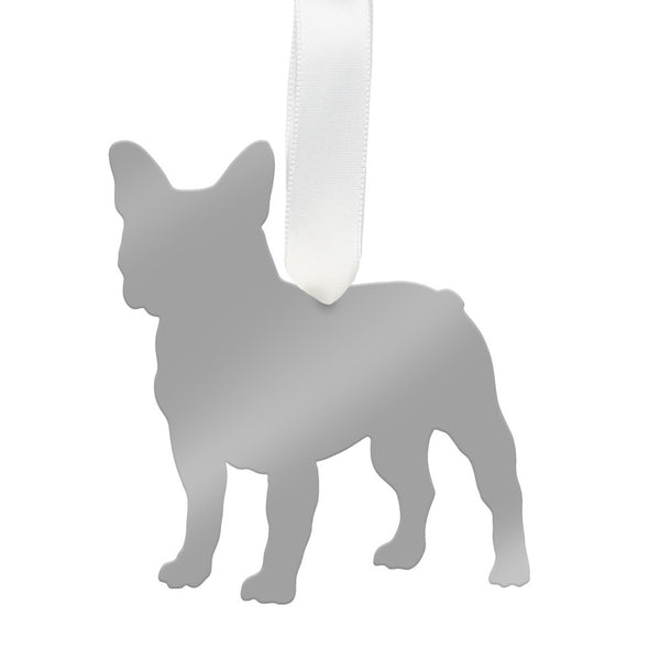 Moon and Lola - French Bulldog Ornament Mirrored Silver
