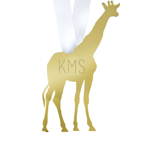 I found this at #moonandlola! - Giraffe Ornament with Monogram
