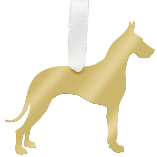 Moon and Lola - Great Dane Ornament Mirrored Gold