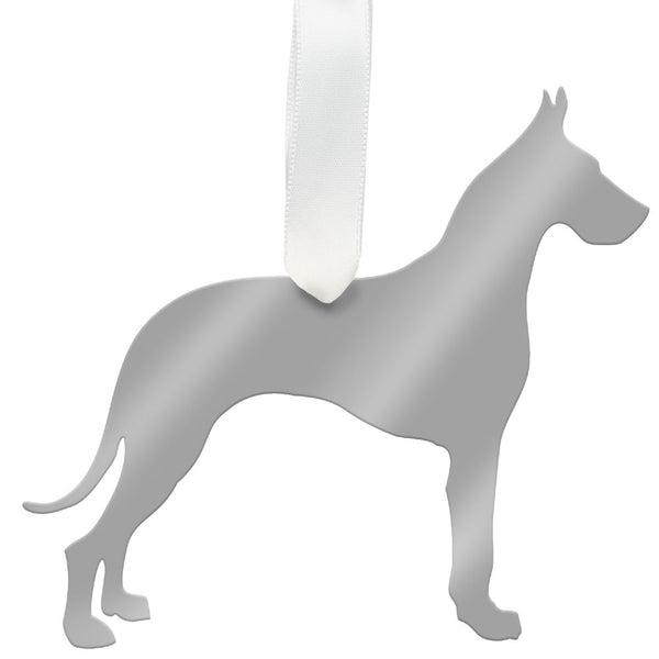 Moon and Lola - Great Dane Ornament Mirrored Silver
