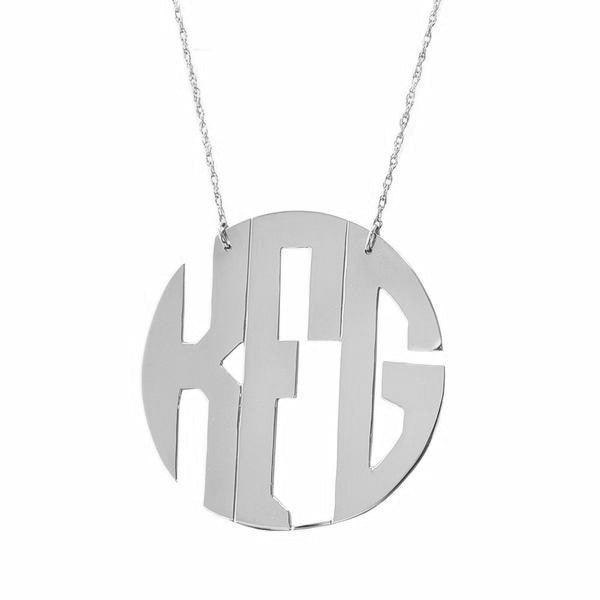 Sterling Silver Monogram Necklace Block Font - #moonandlola
