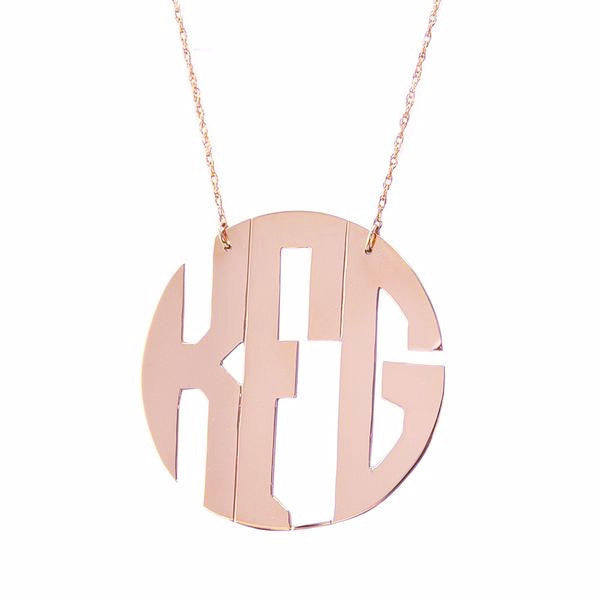 Rose Gold Monogram Necklace Block Font - #moonandlola