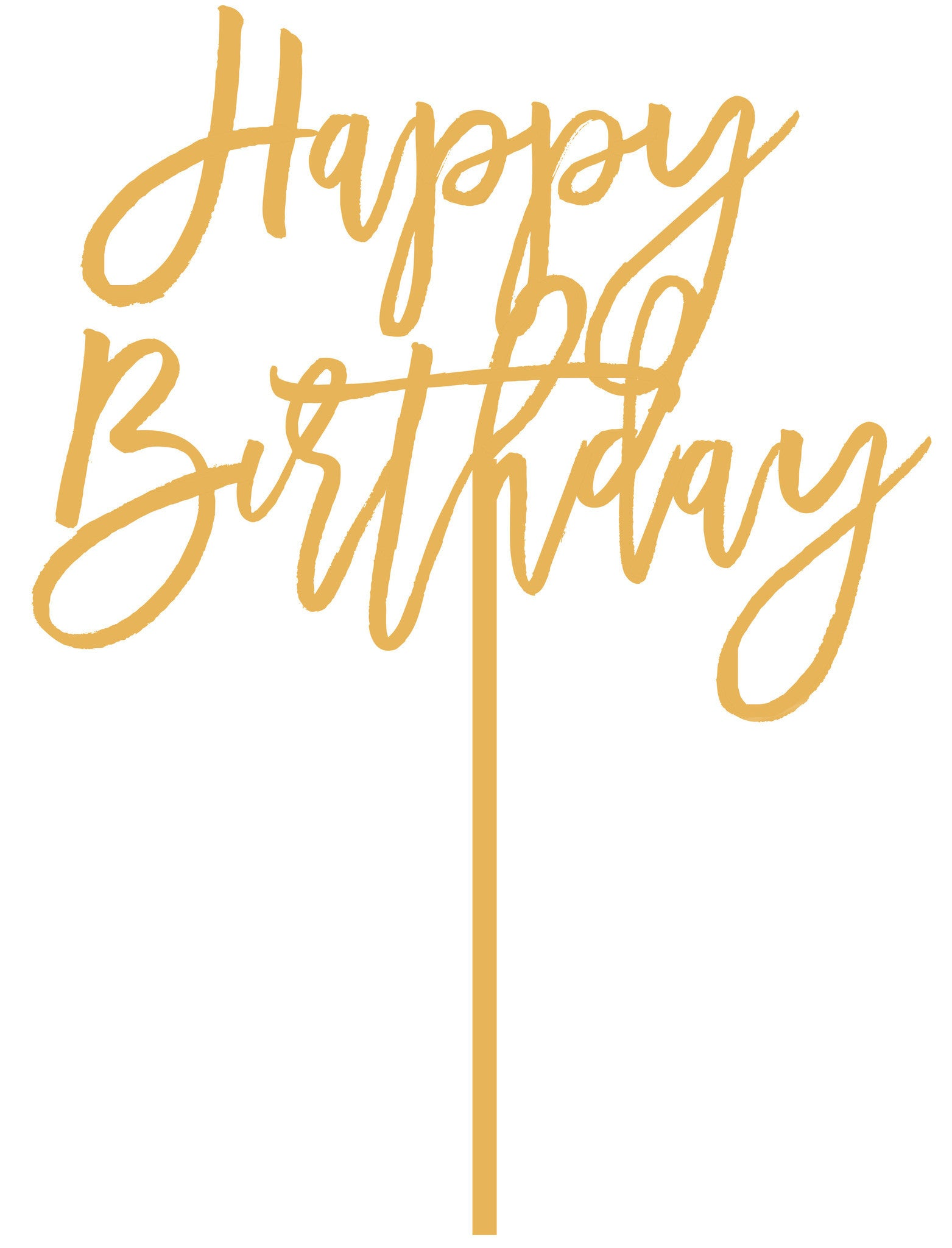 Happy Birthday Cake Topper In Antique Gold