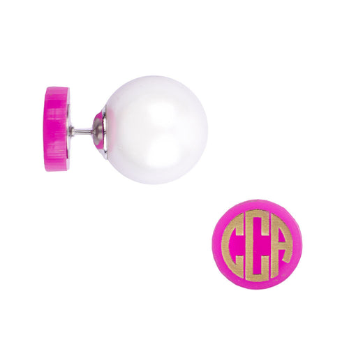 I found this at #moonandlola! - Hartford Block 360 Pearl Studs side view pink