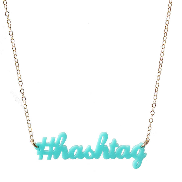 Moon and Lola - #hashtag Necklace in Robin's Egg