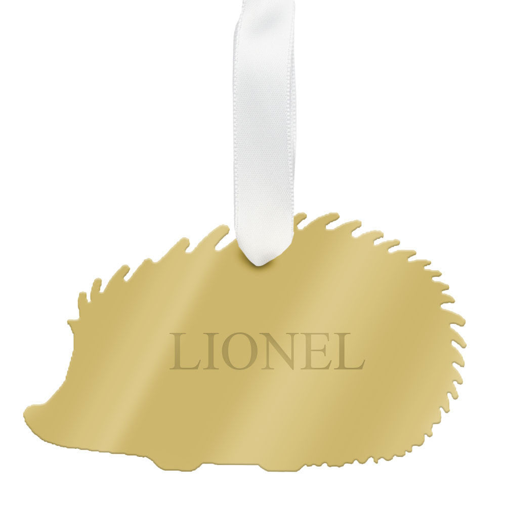 I found this at #moonandlola! - Personalized Hedgehog Ornament Mirrored Gold
