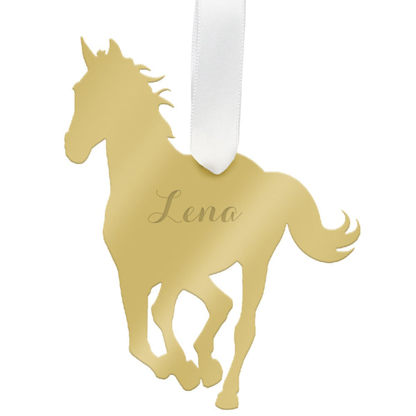 I found this at #moonandlola! - Personalized Horse Ornament Mirrored Gold