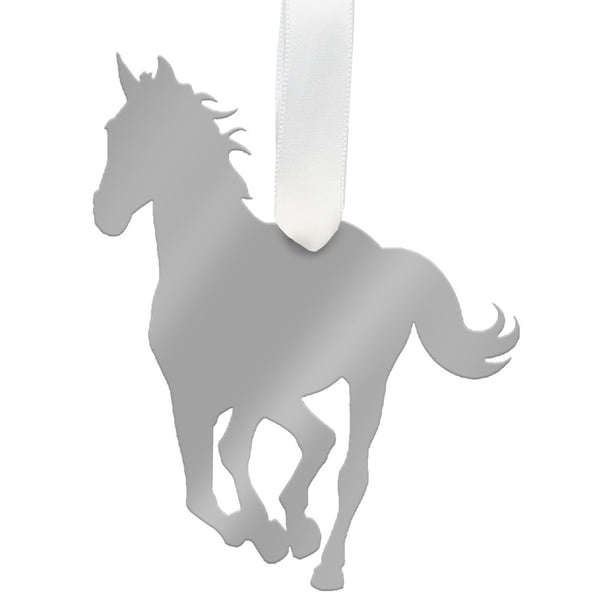 Moon and Lola - Horse Ornament Mirrored Silver