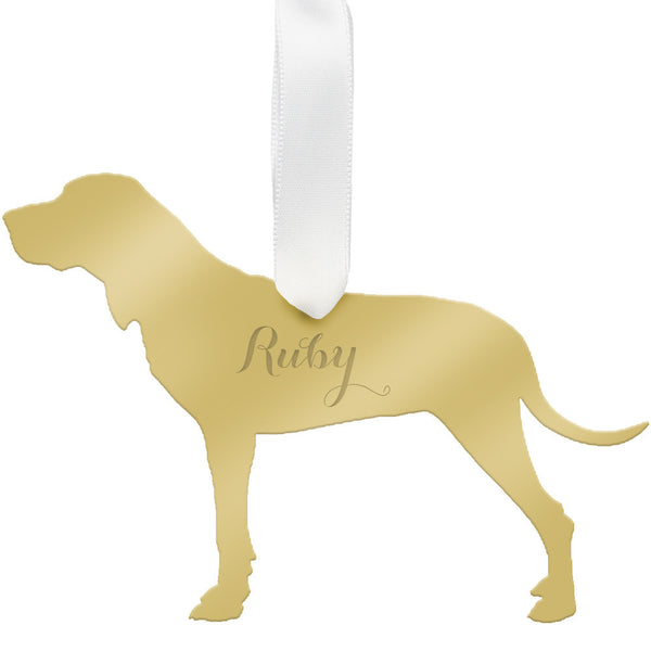 Moon and Lola - Personalized Hound Ornament Mirrored Gold