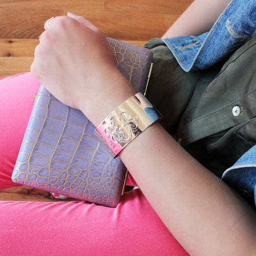 I found this at #moonandlola - Castel Monogram Cuff Bracelet on model