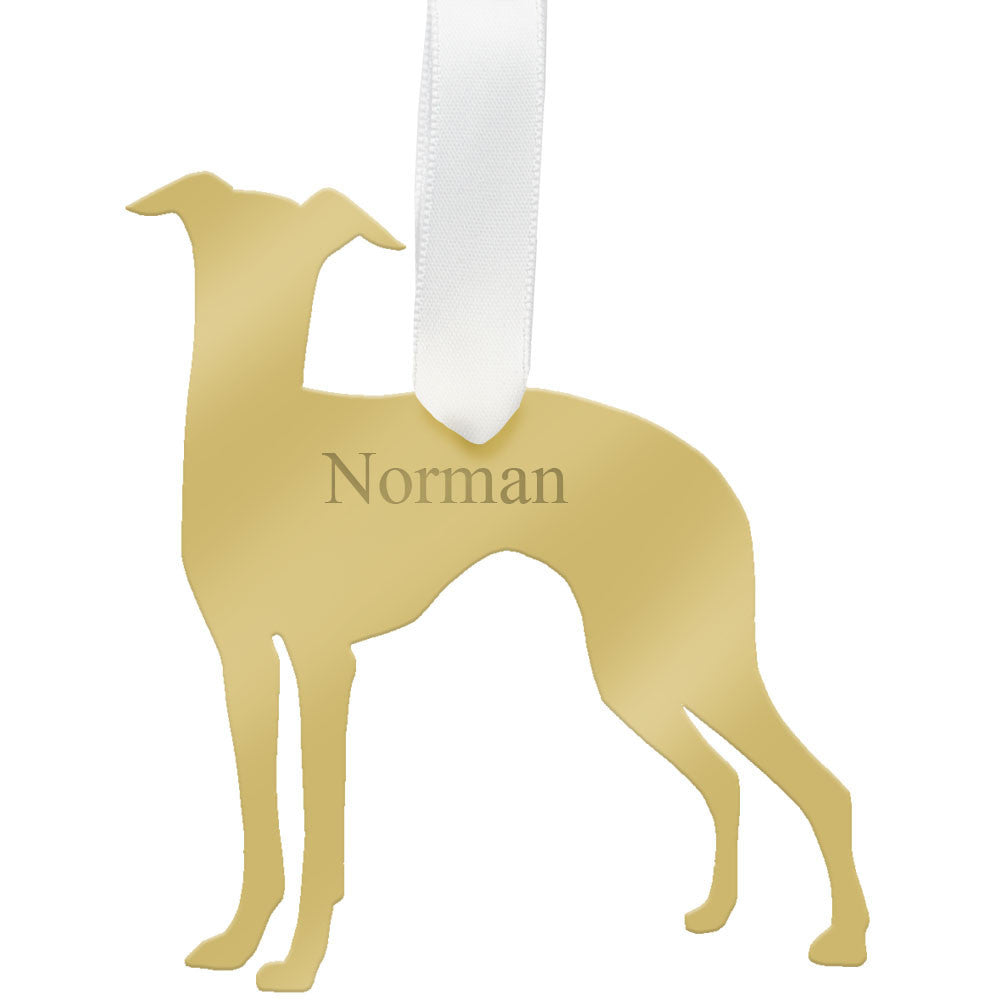I found this at #moonandlola! - Personalized Whippet Ornament Mirrored Gold