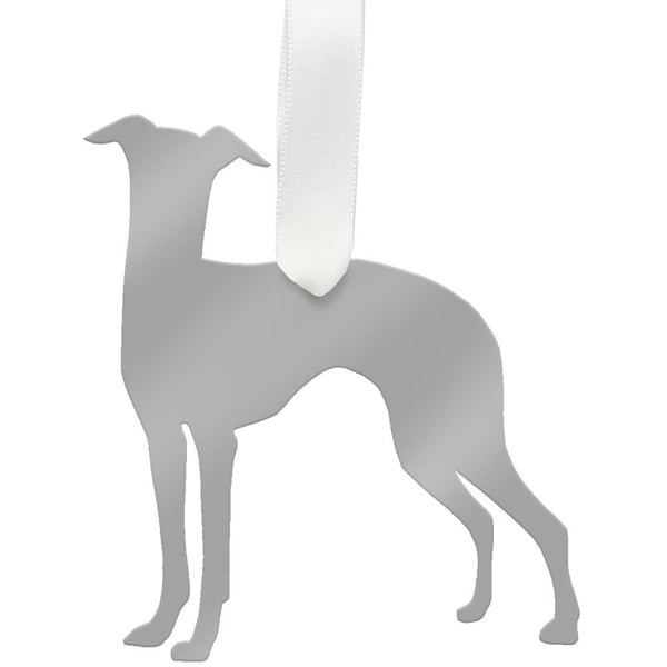 I found this at #moonandlola! - Whippet Ornament Mirrored Silver