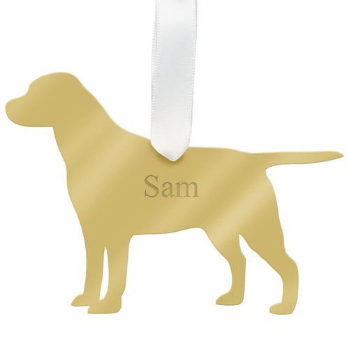 I found this at #moonandlola! - Personalized Labrador Ornament Mirrored Gold