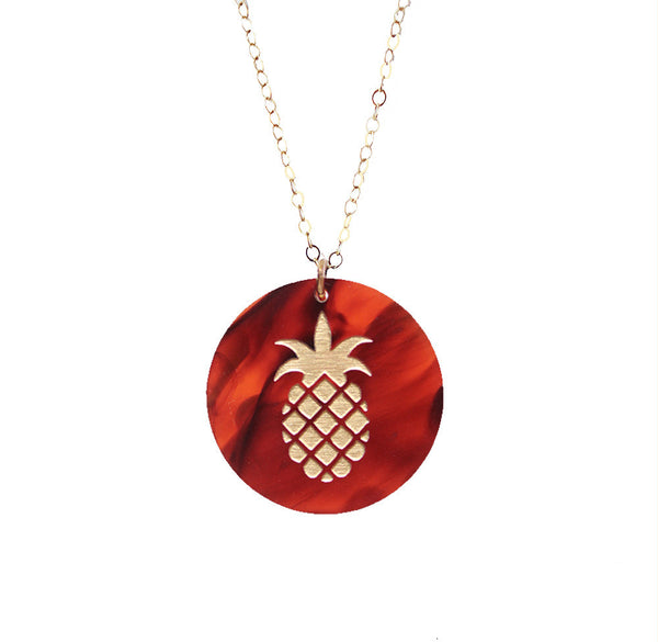 I found this at #moonandlola! - Eden Pineapple Charm in Tortoise on Gold Filled Apex Chain