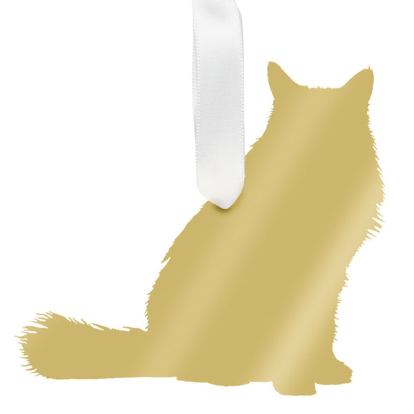 Moon and Lola - Longhaired Cat Ornament Mirrored Gold