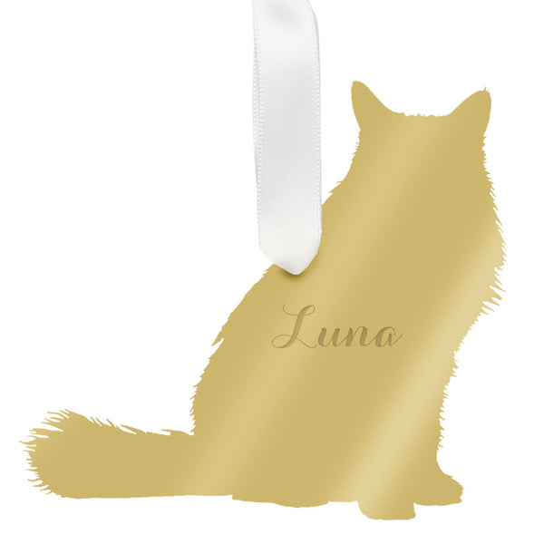 Moon and Lola - Personalized Longhaired Cat Ornament Mirrored Gold