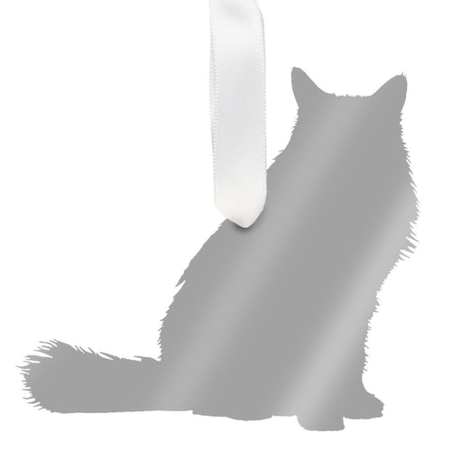 I found this at #moonandlola! - Longhaired Cat Ornament Mirrored Silver
