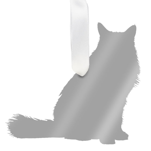 Moon and Lola - Longhaired Cat Ornament Mirrored Silver