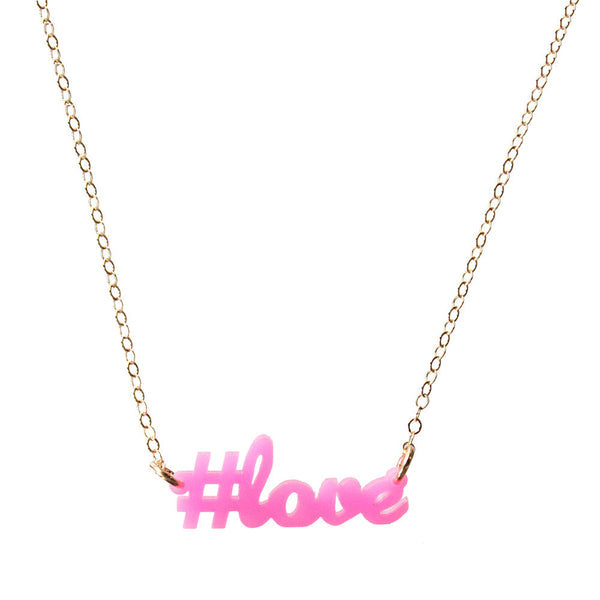 Moon and Lola - #love Necklace in Hot Pink