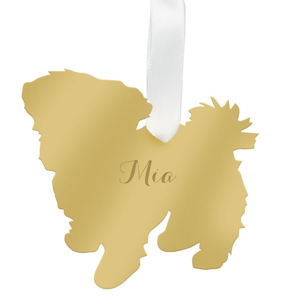 Moon and Lola - Personalized Maltese Ornament Mirrored Gold