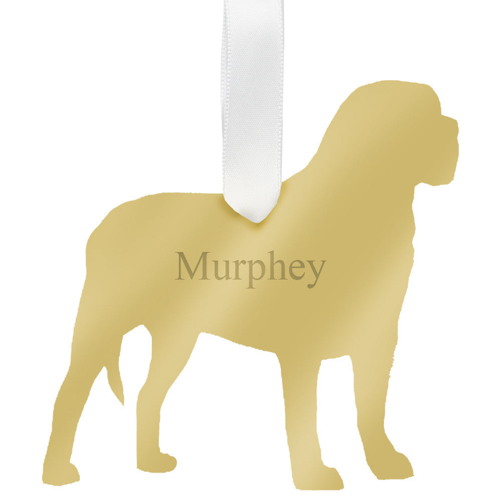 I found this at #moonandlola! - Personalized Mastiff Ornament Mirrored Gold