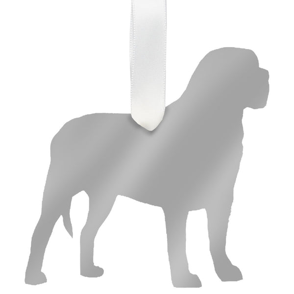 Moon and Lola - Mastiff Ornament Mirrored Silver
