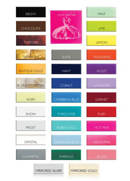 Moon and Lola Acrylic Jewelry Color Chart