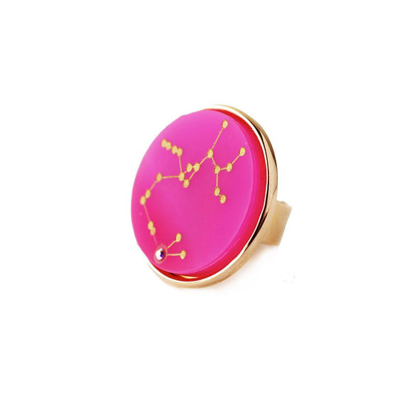 I found this at #moonandlola! - Acrylic Zodiac Constellation Ring Hot PInk