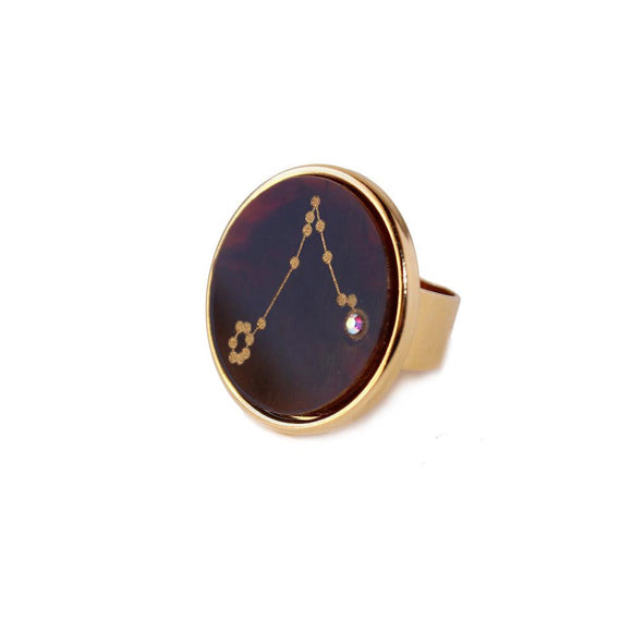 I found this at #moonandlola! - Acrylic Zodiac Constellation Ring Tortoise Shell