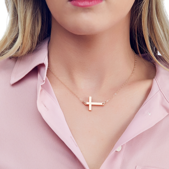 I found this at #moonandlola! - Acrylic Cross Necklace in Mirrored Gold