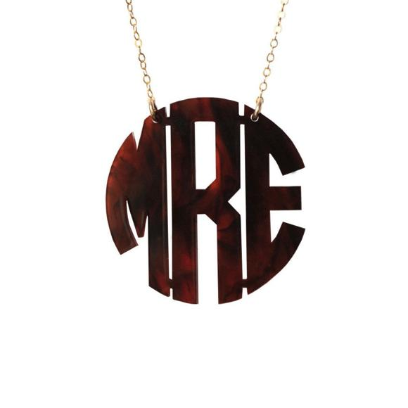 Moon and Lola - Block Monogram Necklace Tortoise