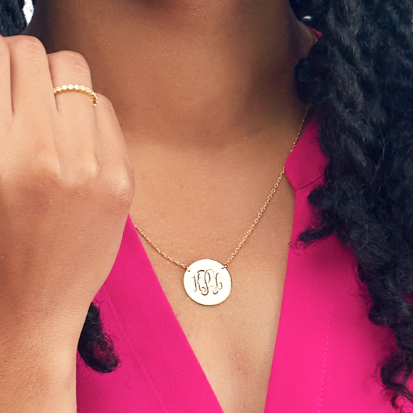 Moon and Lola - Metal Disc Necklace Monogram