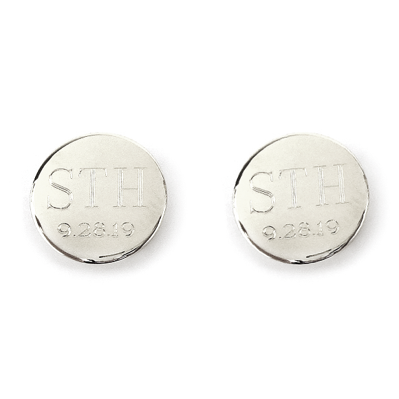 Moon and Lola - Engraved Round Cuff Links With Date in silver
