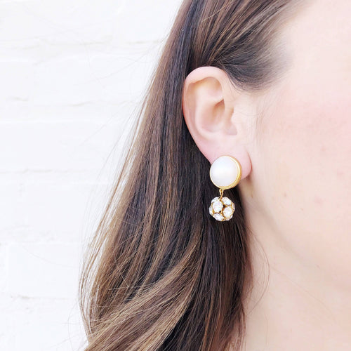 Moon and Lola - Luna Rhinestone Single Drop Earrings in gold
