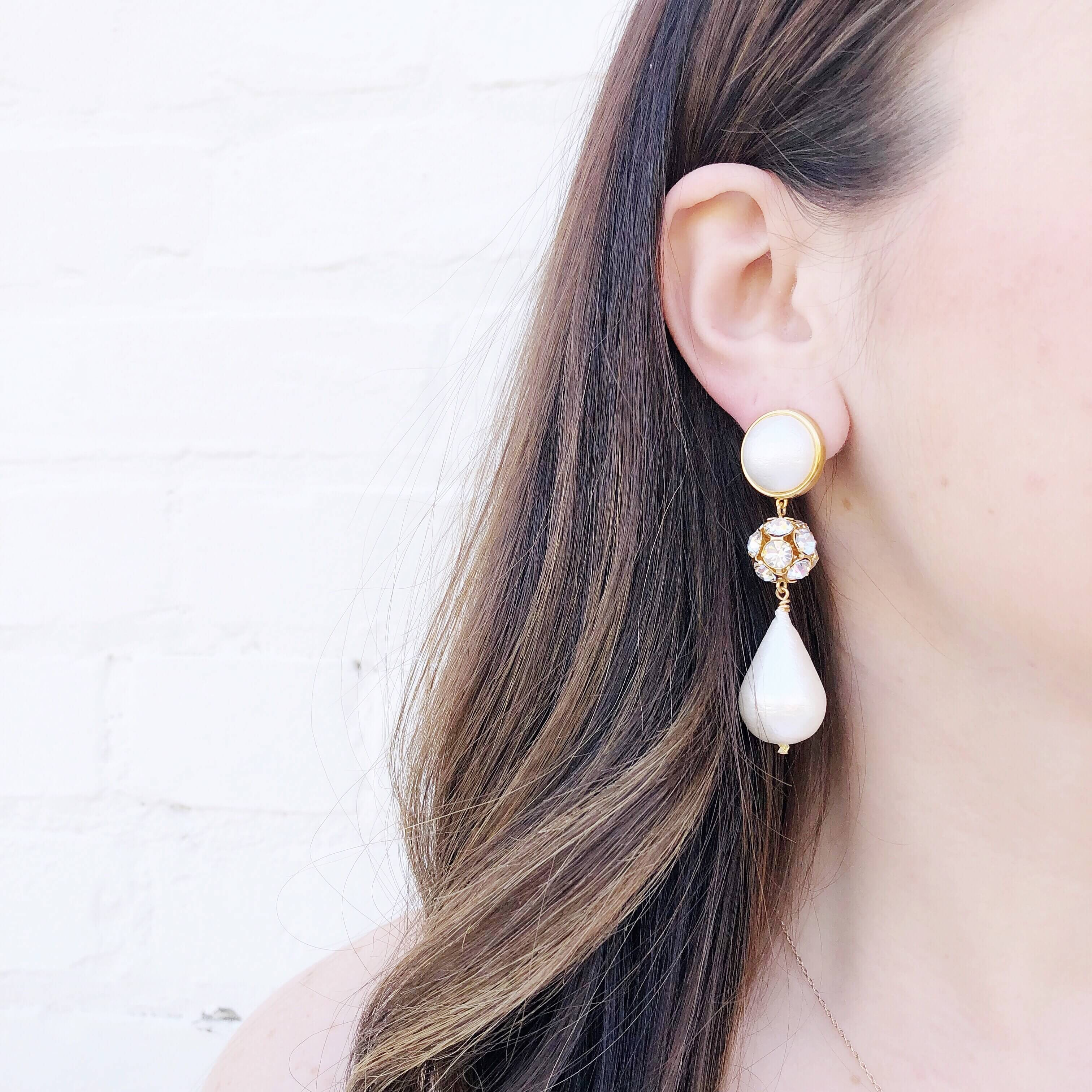 Moon and Lola - Luna Rhinestone Teardrop Earrings in gold