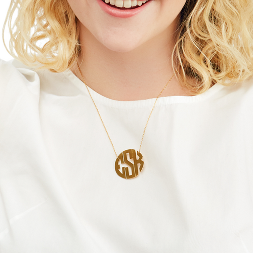 Moon and Lola - Hampton Metal Monogram Necklace block font hand-cut